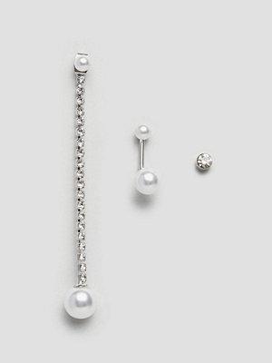 DesignB London örhängen Pearl and Chain Earring Multipack - Cream