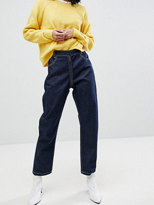 ASOS High Waist Authentic Straight Leg Jeans with Back Zip Through Rise Detail In Raw Indigo