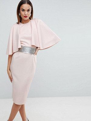 ASOS Edition Statement Sleeve Midi Scuba Dress with Detachable Diamante Belt - Nude