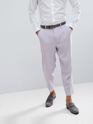 ASOS Wedding Tapered Smart Trousers In Lilac Cross Hatch Nepp
