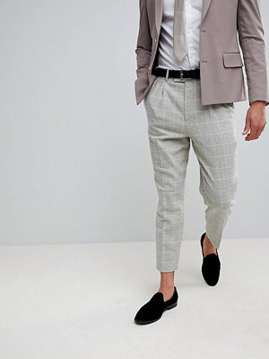 ASOS Wedding Tapered Smart Trousers In Putty Wool Mix Check