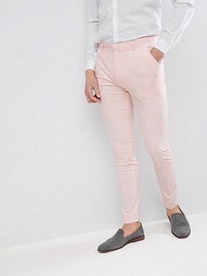 ASOS Wedding Super Skinny Smart Trousers In Peach Velvet