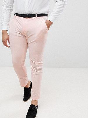 ASOS PLUS Wedding Super Skinny Smart Trousers In Peach Velvet