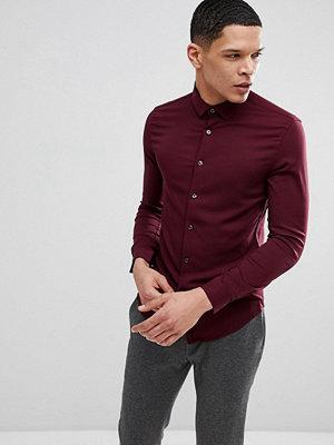 ASOS Muscle Viscose Shirt In Burgundy