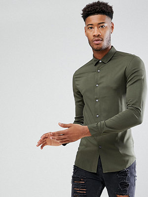ASOS TALL Skinny Viscose Shirt In Khaki