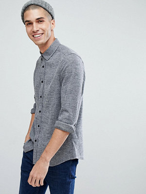 ASOS Slim Brushed Twill Shirt In Charcoal