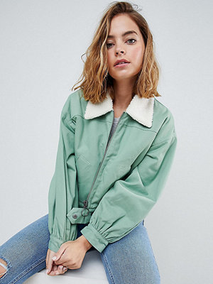ASOS Petite Utility Jacket with Borg Collar - Khaki