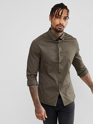 ASOS Skinny Shirt In Dark Khaki