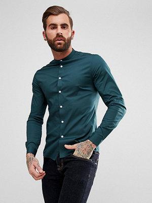 ASOS Skinny Shirt In Teal With Grandad Collar