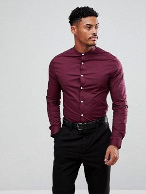 ASOS Skinny Shirt In Burgundy With Grandad Collar