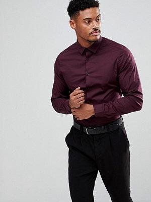 ASOS Slim Shirt In Burgundy