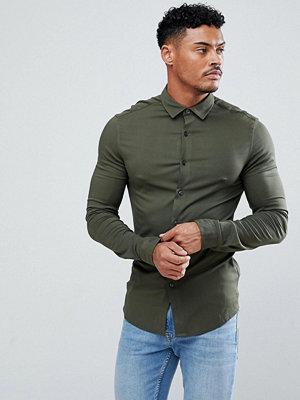 ASOS Skinny Viscose Shirt In Khaki