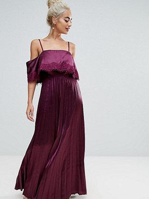 ASOS Petite Satin Pleated Cami Lace Trim Crop Top Maxi Dress