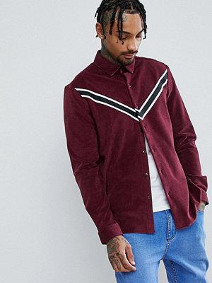 ASOS Regular Fit Velour Shirt With Taping Detail