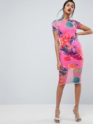 ASOS Printed Mesh Midi Dress With Frill Detail