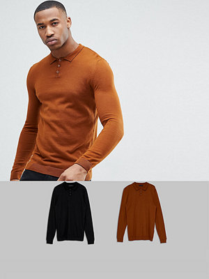 ASOS 2 Pack Knitted Muscle Fit Polo In Tan/Black SAVE