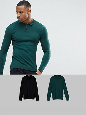 ASOS 2 Pack Knitted Muscle Fit Polo In Green/Black SAVE