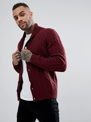 ASOS Cable Knit Cardigan With Shawl Collar - Burgundy