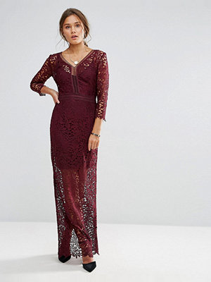 Little Mistress Long Sleeve Lace Maxi Dress