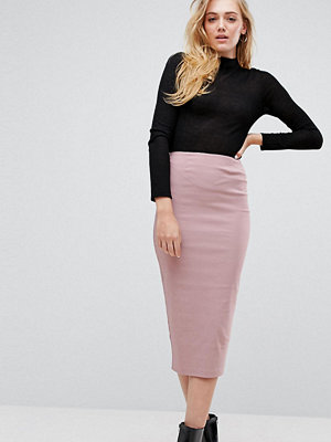 Asos Tall High Waisted Longerline Pencil Skirt - Nude