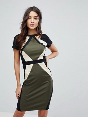 Paper Dolls Paperdolls Colour Block Pencil Dress - Black / cream / khak