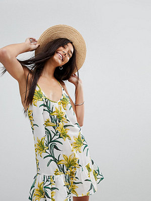 Asos Tall Lily Print Simple T Back Beach Dress