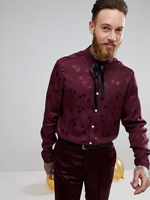 ASOS Party Regular Fit Polka Dot Shirt With Pussybow