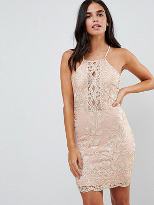 Parisian Embroidered Metallic Dress - Light pink
