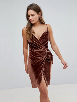 Parisian Velvet Cami Wrap Dress With Tie - Dark rust