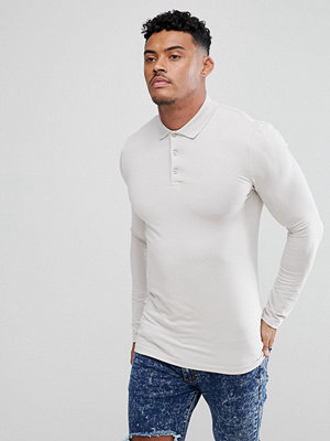 ASOS DESIGN muscle fit long sleeve jersey polo
