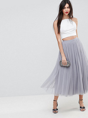 Asos Tall Tulle Midi Prom Skirt - Grey