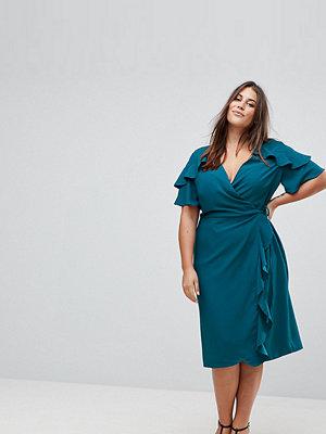 ASOS Curve Midi Wrap Dress With Ruffle Sleeve - Dark teal