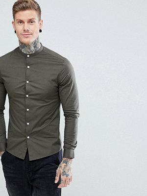 ASOS Skinny Shirt with Grandad Collar in Khaki