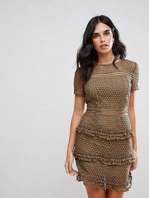 Liquorish Layered Lace Dress - Khaki