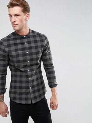 ASOS Skinny Check Shirt With Grandad Collar