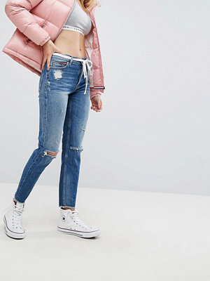 Tommy Jeans Izzy High Rise with Ripped Knee - Midwash denim