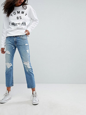 Tommy Jeans Lana Mid Rise Cropped Straight Leg Jean with Rips - Lightwash denim