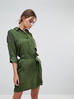 Liquorish Belted Shirt Dress - Khaki