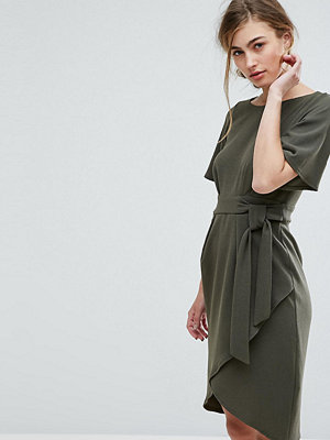 Closet London Tie Front Dress With Kimono Sleeve - Khaki