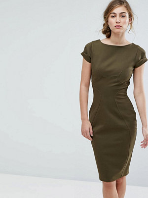 Closet London Pencil Dress With Ruched Cap Sleeve - Khaki