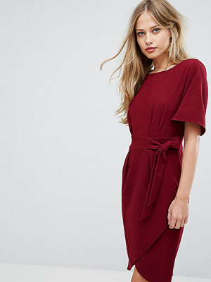 Closet London Tie Front Dress With Kimono Sleeve - Berry