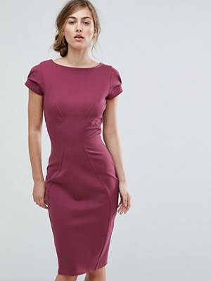 Closet London Pencil Dress With Ruched Cap Sleeve - Plum