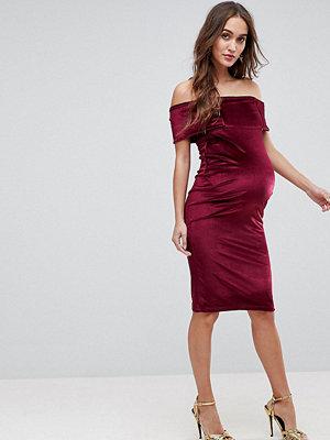 ASOS Maternity Bardot Velvet Bodycon Dress - Burgundy