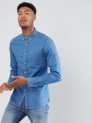 ASOS TALL Slim Stretch Denim Shirt In Mid Wash