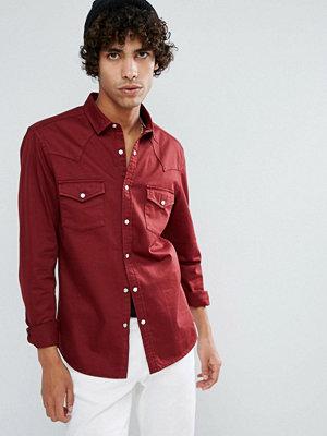 ASOS Skinny Denim Western Shirt In Burgundy