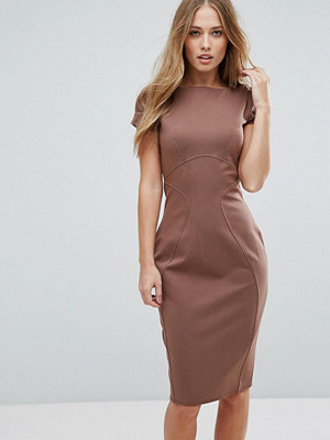 Closet London Pencil Dress With Ruched Cap Sleeve - Mink