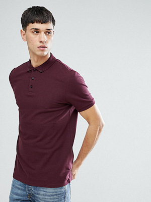ASOS TALL Pique Polo With Button Down Collar