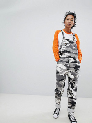 Dickies Dungarees In All Over Camo Print - White camo