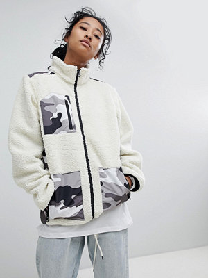 Dickies Fleece Jacket With Camo Patch Pockets - White camo