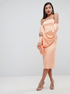 ASOS Edition Extreme Blouson Sleeve Midi Dress in Satin - Apricot